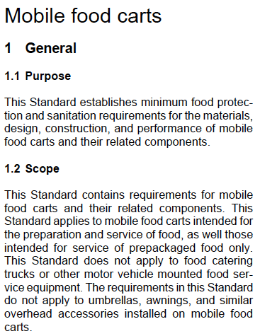 ansi nsf mobile food cart