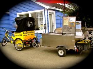pulling the hot dog cart