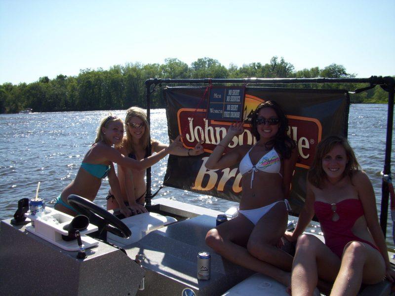hot dogs on pontoon boat