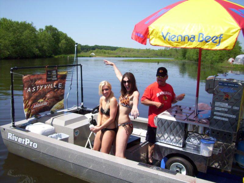 hot dog cart on lake