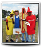 work with a hot dog vendor