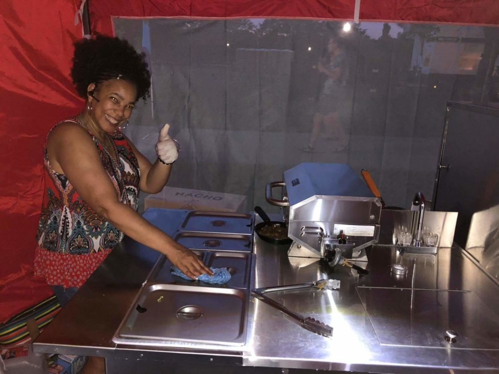 Sybil working the hot dog cart
