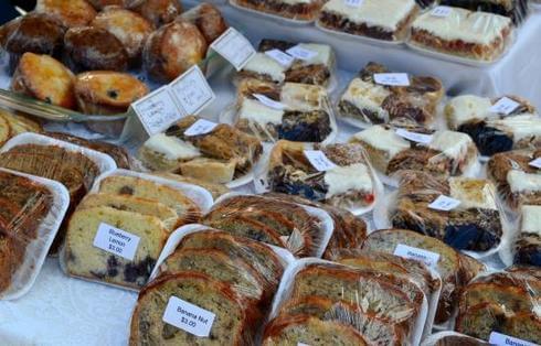 Vendor sells baked goods