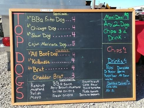 Top Dogs Vendor Menu