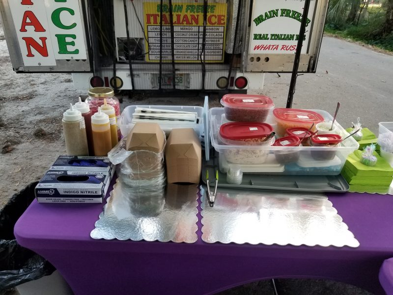 hot dog vendor condiment and prep station setup