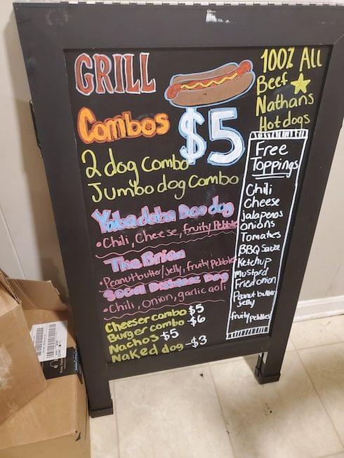 """James """"Hot Dog Vendor"""" Menu"""