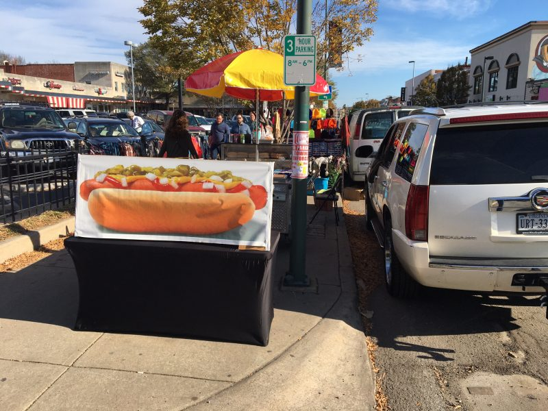 selling hot dogs