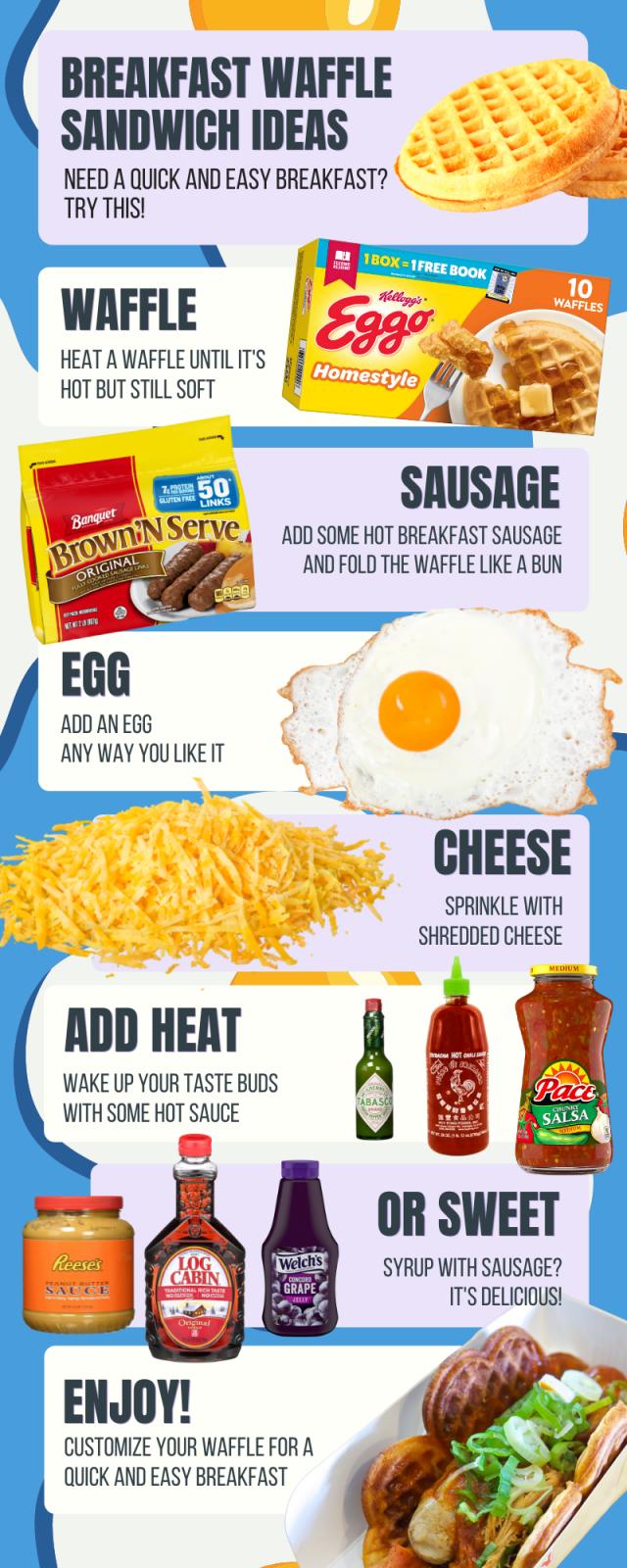 breakfast menu with waffle tacos